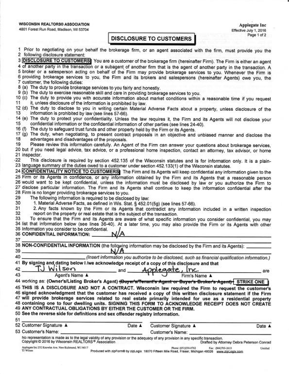 Disclosure - Applegate Properties